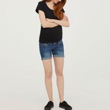 Летняя одежда для беременных женщин с высокой талией, для молодых мам Короткие штаны повседневные однотонный для беременных джинсы для беременных женщин