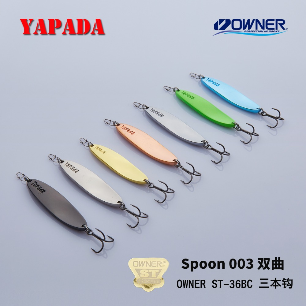 YAPADA Spoon 003 Hyperbolic OWNER Treble Hook 7.5g-10g 53-60mm Feather Metal Spoon Multicolor Fishing Lures