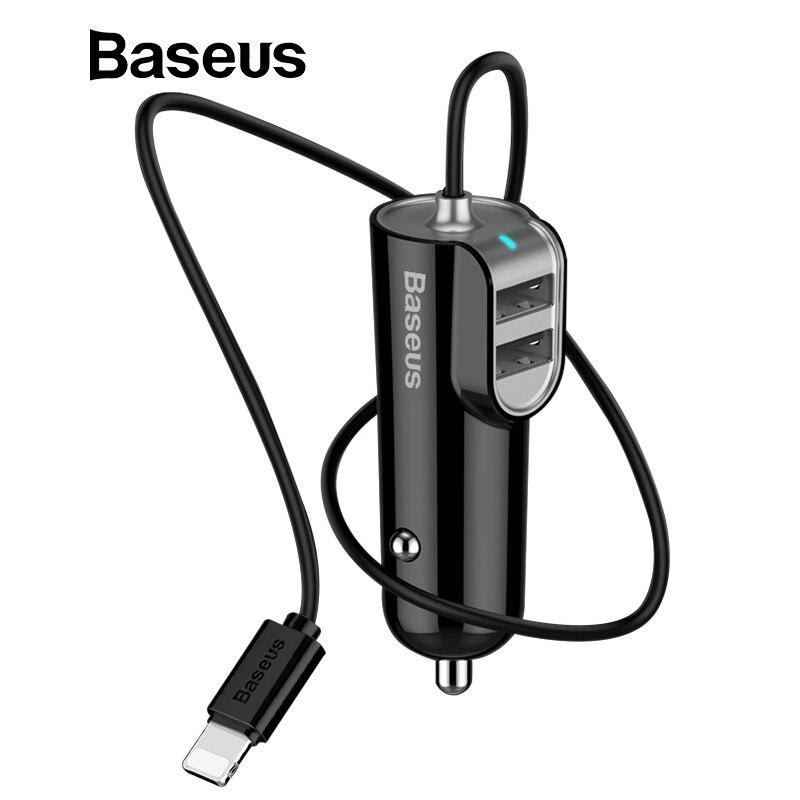 Baseus 5.5A 3in1 cargador de coche USB para iPhone XS cargador de teléfono móvil Samsung 3 puertos USB cargador rápido y 1 m Cable para iPhone