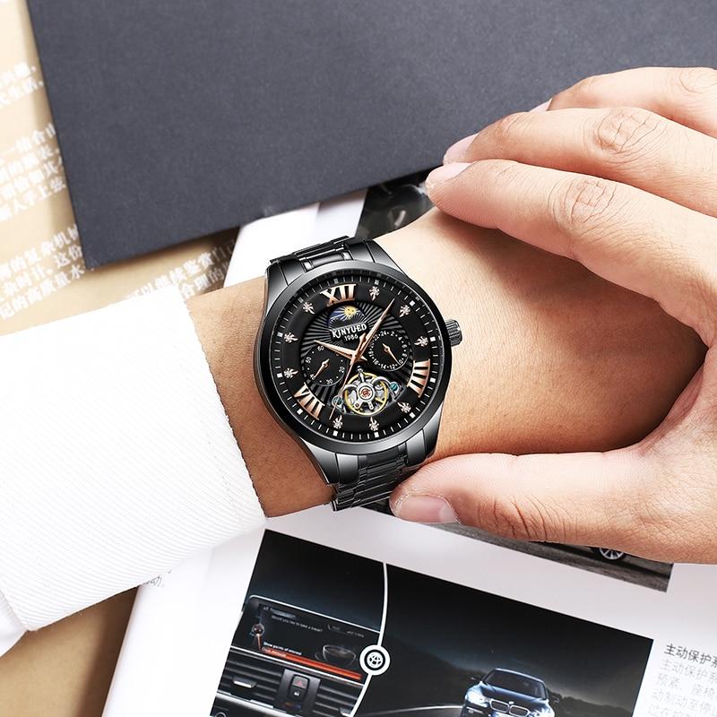 KINYUED Brands Skeleton Watch Automatic Men Luxury Mechanical Watches Tourbillon Clock Mechanism Moon Phase Dress montre homme