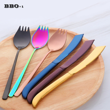 Dinnerware Set 2pcs Stainless Steel Gold Rainbow Cutlery Set Black Fork Knives Dinnerspoon Tableware Kitchen Food Accessories