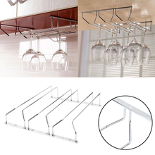 1Row Silver Home Bar Under Cabinet Display Hanging Shelf Stemware Wine Glass Holder Goblet Rack Bar & Wine Tools(China)