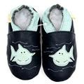 Sapatos de couro mocassins menino primeiro caminhantes sapatos de bebê recém-nascido azul chinelo sapatos criança crianças sapatos