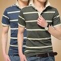 Мода Высокого Качества хлопка polo shirt мужчины повседневная slim fit с коротким рукавом в полоску мужская polo shirt 2 цвет большой размер 3XL