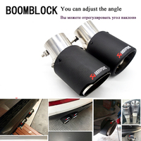 BOOMBLOCK 1PCS For Kia Rio K2 Ford Focus 3 2 Chevrolet Cruze Aveo Citroen C4 Akrapovic Carbon Car Exhaust Muffler Pipe Modified