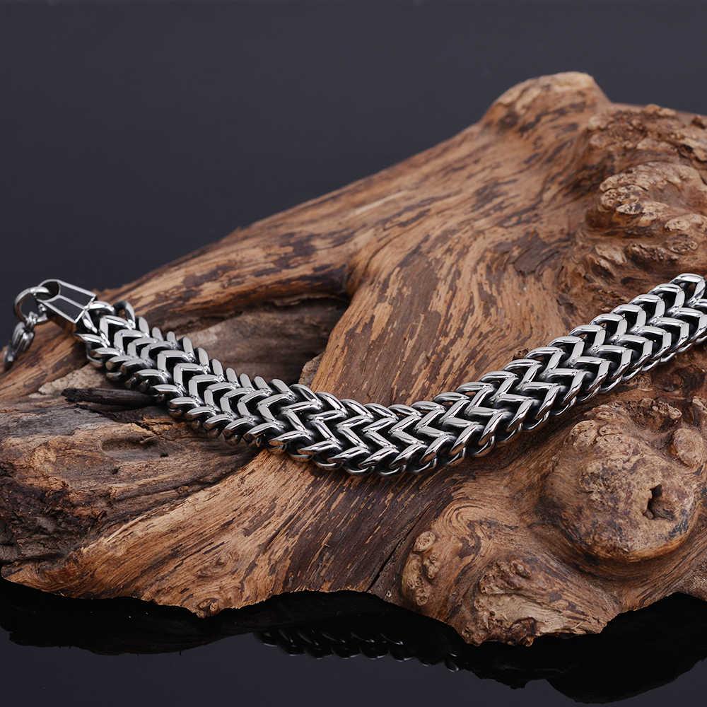 Modne męskie bransoletki 2018 316L amulet ze stali nierdzewnej człowiek bransoletka mężczyzna metalowy łańcuch biżuteria przyjaźń biżuteria prezenty dla mężczyzn