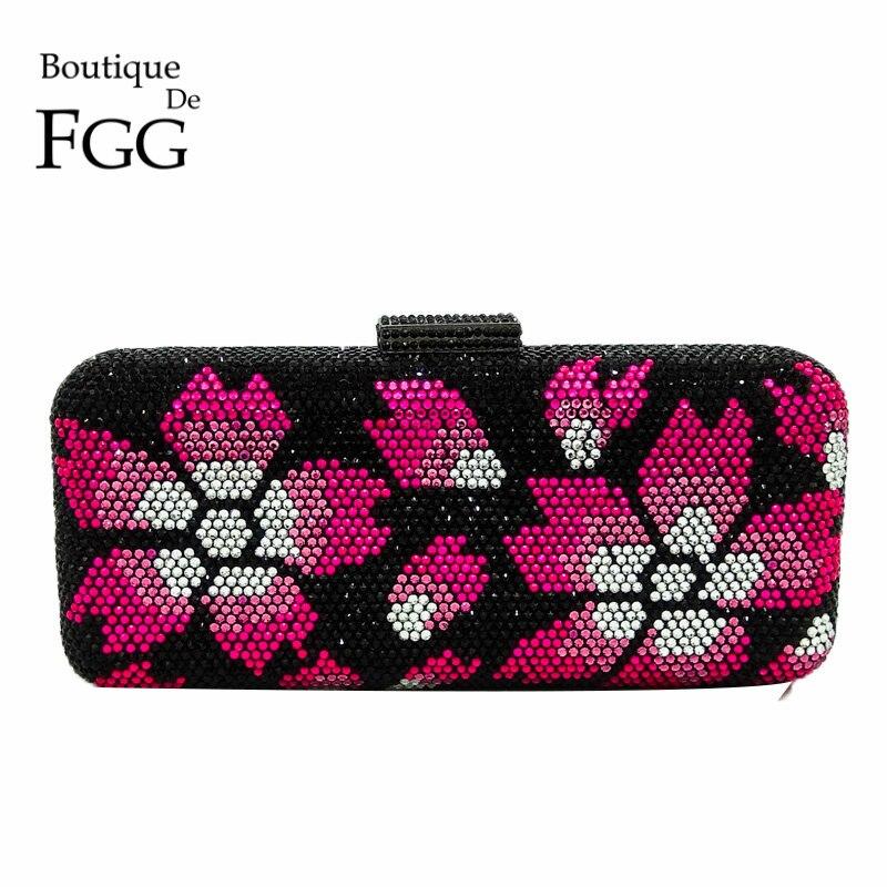 핫 핑크 꽃 하드 케이스 금속 여성 블랙 크리스탈 저녁 클러치 가방 신부 핸드백 라인 스톤 핸드 클러치 웨딩 지갑