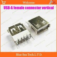 Бесплатная Доставка 50 шт./упак. USB женский usb-разъем типа Женский Припоя 180 градусов по вертикали, интерфейсный разъем USB/джек