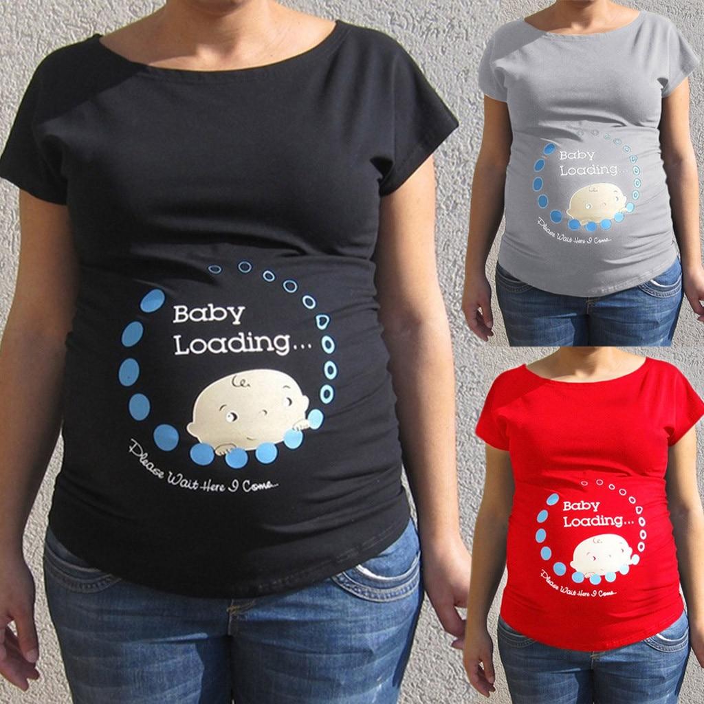 CHAMSGEND Для женщин беременных милые детские печатных плюс Размеры смешные футболки для беременных леди модные топы JAN10 P30
