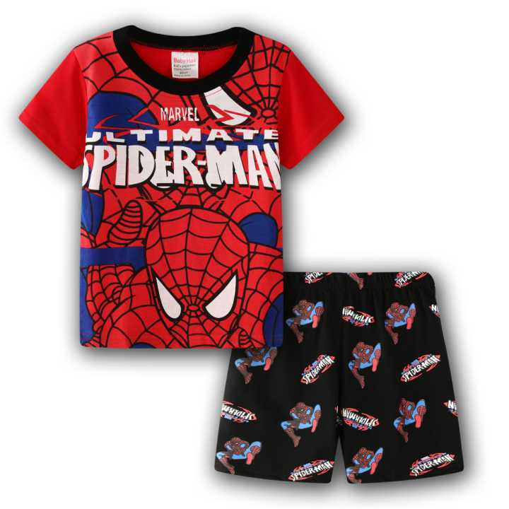 Boys Kids Marvel Superman Saves The World Cotton Short Pyjama Sleepwear Nightwear Navy//Red 4-5