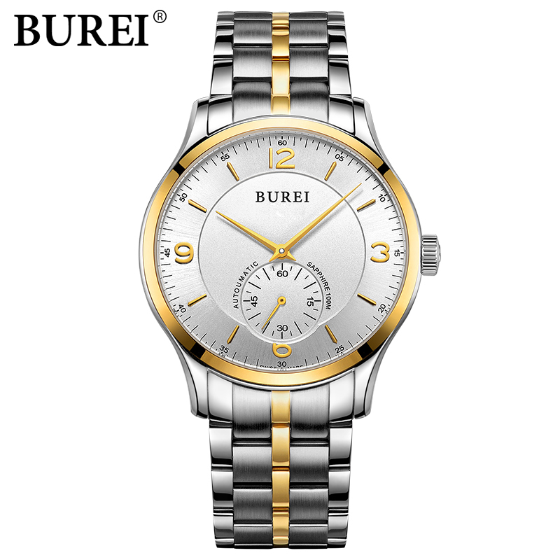 BUREI brand Fashion Men casual Watches Sport steel mechanical watch Dress Clock hours Male Business wristwatch Relogio Masculino rosra brand men luxury dress gold dial full steel band business watches new fashion male casual wristwatch free shipping