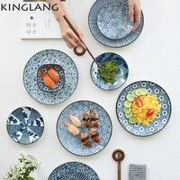 LFGB Passed Japanese Blue White Porcelain Dinner Plate