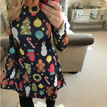 S-5XL Over Size Winter Women Dresses Stretch Cute Printed Christmas Dress 2019 Casual Loose Party Short Plus Vestidos