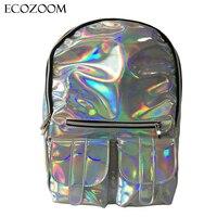 Yeni Ucuz Gammaray sırt Kadınlar Gümüş Hologram Lazer omuz çantası PU deri Holografik Sırt Çantası Renkli schoolbag