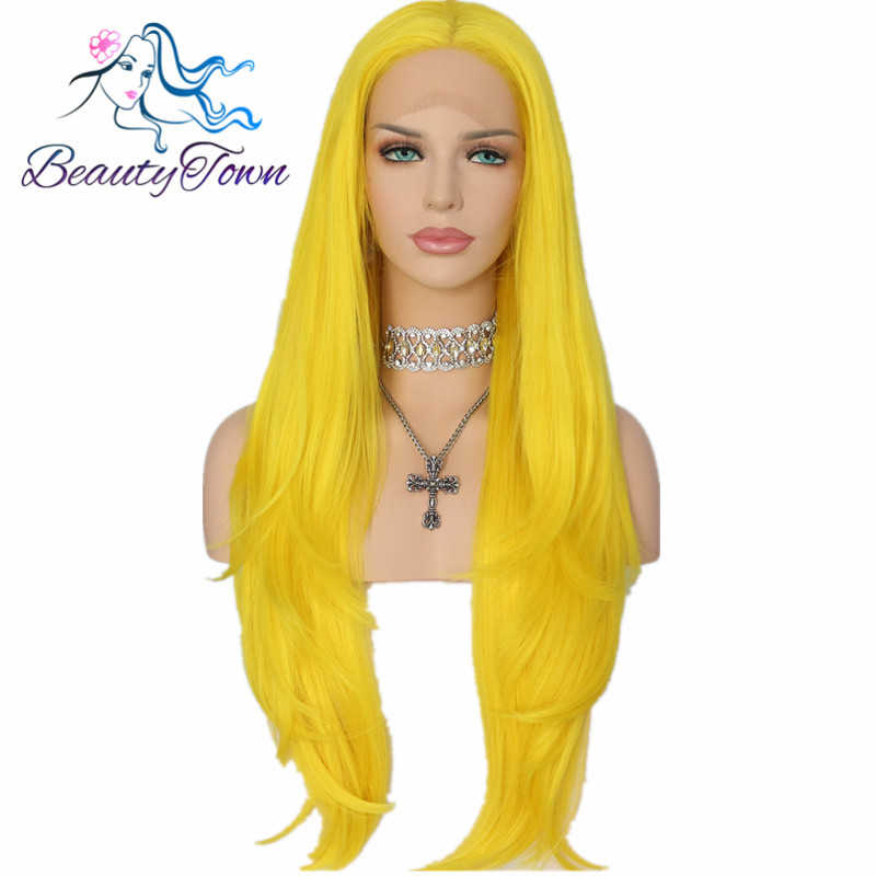 BeautyTown Yellow Color Heat Resistant Hair 150 Denstiy Cosplay Perruque Masquera Synthetic Lace Front Wigs for