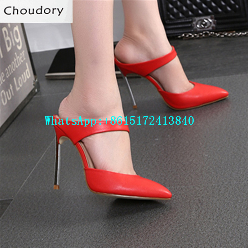 ФОТО After-The-Empty-Shoes Super Thin High Heels Pointed Toe Slip-On Mary Janes Pumps Sexy Dress Party Fashion Shallow Shoes Woman