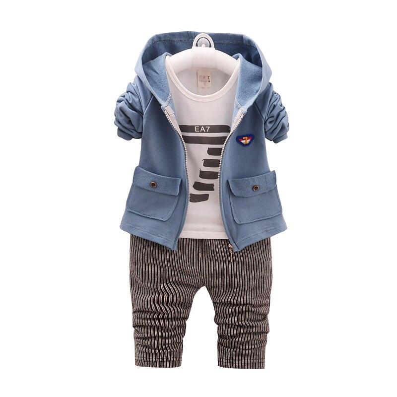3 шт. новорожденного Комплекты одежды для маленьких мальчиков с длинным рукавом Детские костюмы комплекты одежды для новорожденных Осень Bebes Костюмы хлопковая куртка + футболка + Брюки для девочек