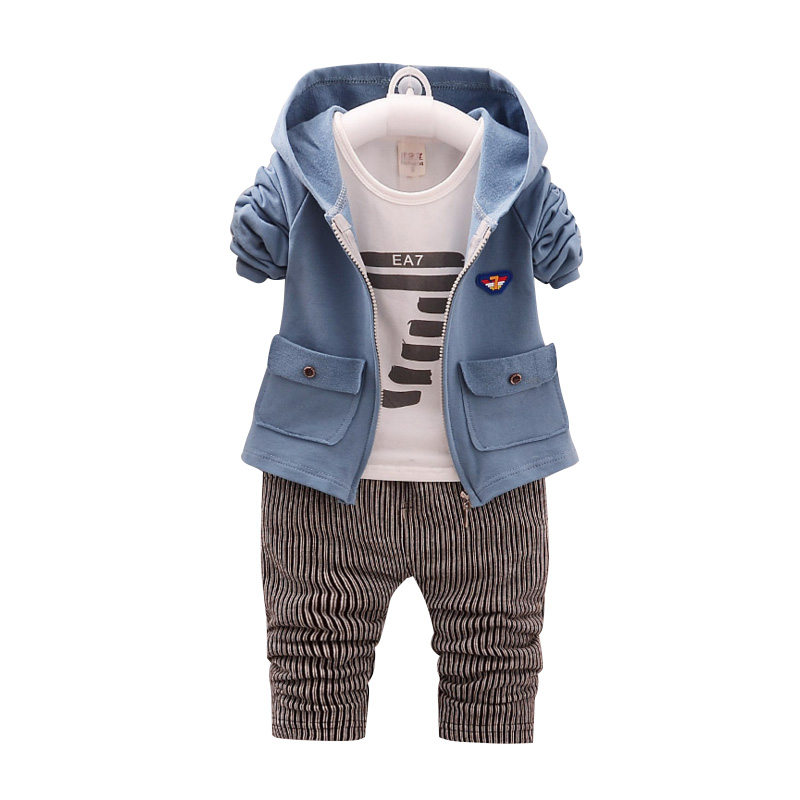 3Pcs New Born Baby Boy Clothes Sets Long Sleeve Kids Suits Newborn Outfits Autumn Bebes Clothing Cotton Jacket+T-shirt+Pants new autumn casual baby girl boy clothes cute minnie cotton t shirt coat pants 3 suits baby clothes girls kids clothing sets