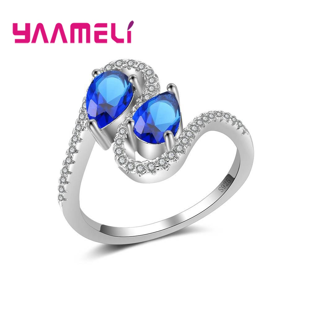 YAAMELI Top Sale Cubic Zirconia Women Ladies Crystal Present Finger Rings New Fashion 925 Sterling Silver Crystal Jewelry