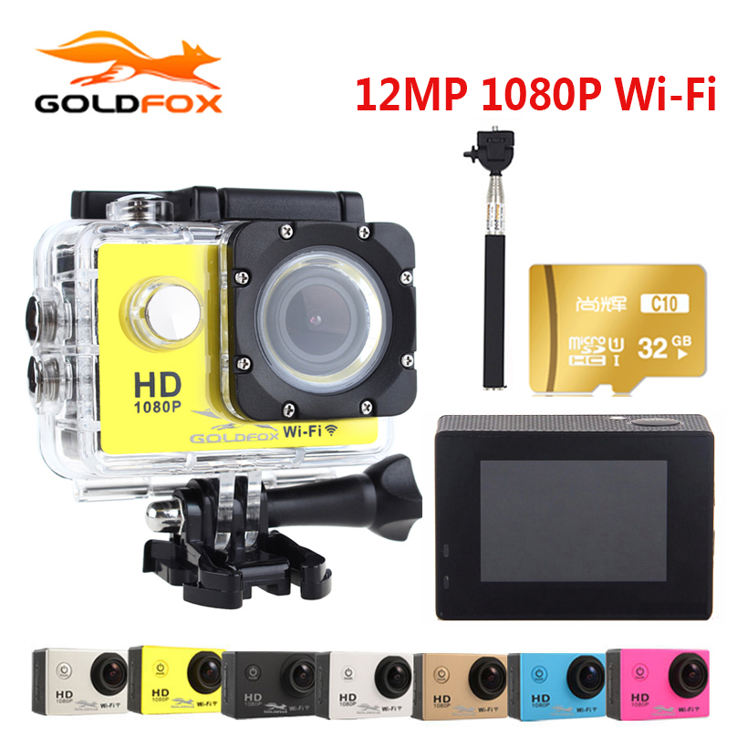 2018 100% New Action Camera 1080P Full HD 30M Action Camera Go waterproof pro Sport DV Bike helmet Car Cam With Retail Packing f88 action camera black
