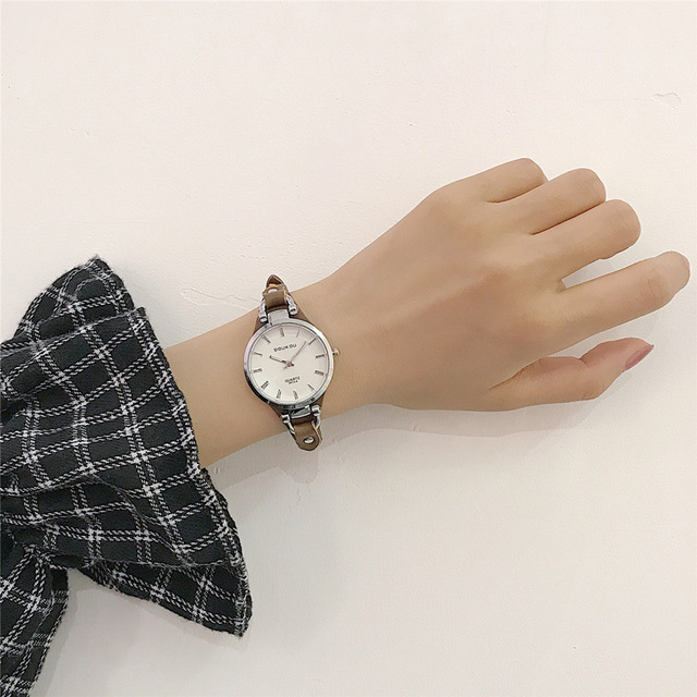 Elegant design ladies wrist watches with vintage leather band 2018 simple casual