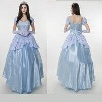 סט קוספליי מבוגרים נשים מקסי ארוך כחול לבן תחרת שמלת תלבושות המפלגה Vestidos עבור תלבושות ארמון מלכת שלגיה נסיכה