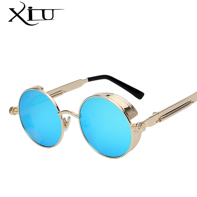 Round Metal Sunglasses Steampunk Men Women Fashion Glasses Brand Designer Retro Vintage Sunglasses