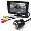 8LED CCD Waterproof Vehicle Camera Universal HD Car Rear View Back Up Reverse Parking Camera+4.3 Inch TFT LCD Car Monitor