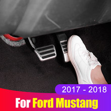 stainless steel Car Accelerator Gas Pedal Brake Pedal Non Slip Pedal Pads Cover for Ford Mustang 2017 2018 Accessories(China)