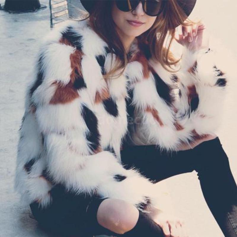 Plus Size Elegant faux fur coat women winter Warm Long sleeve 2017 female Fluffy outerwear Chic autumn coats jacket overcoat