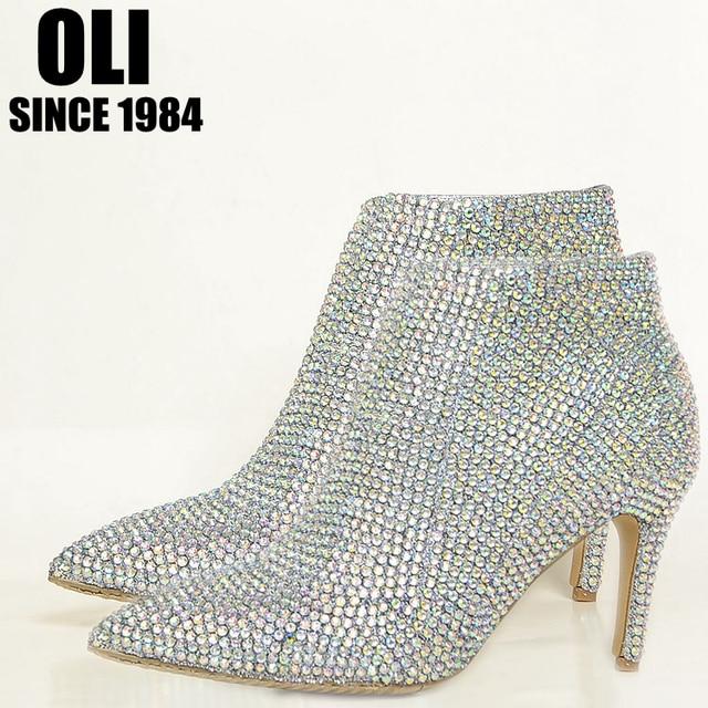 0e7bf841 Buty zimowe buty buty ślubne rhinestone szpiczasty toe prawdziwej skóry buty  na wysokim obcasie cienkie obcasy