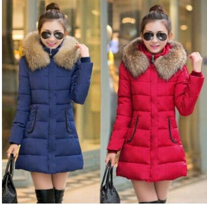 Ücretsiz Kargo kadın pamuk-yastıklı ceket kış orta-uzun aşağı pamuk artı boyutu ceket kadın ince bayanlar ceket ve mont