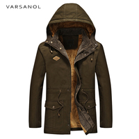 Varsanol Army Camouflage Jackets Men Military Warm Hooded Jacket Cotton Thick Casual Solid Zipper Pockets Long Sleeve Outwears