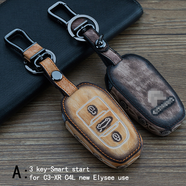 Genuine Leather CAR KEY CASE For CITROEN C3-XR C4L NEW ELYSEE Use Automobile Special-purpose CAR KEY HOLDER