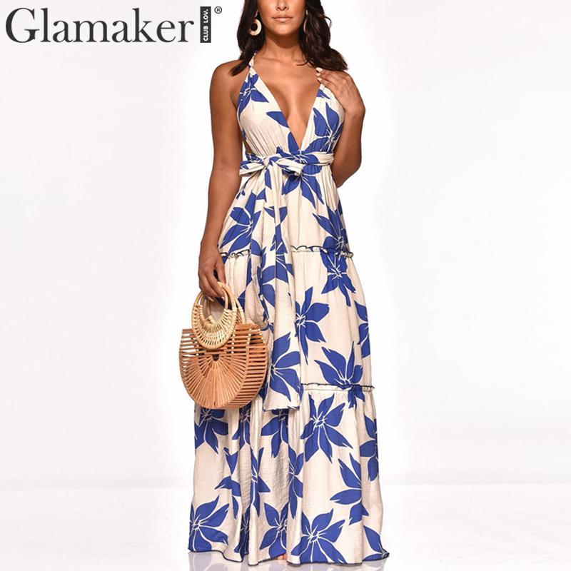 Glamaker Sexy Bandage Boho Maxi Dress Women Summer Sleeveless Holiday Beach Dress Elegant Female Fashion V Neck Party Club Dress