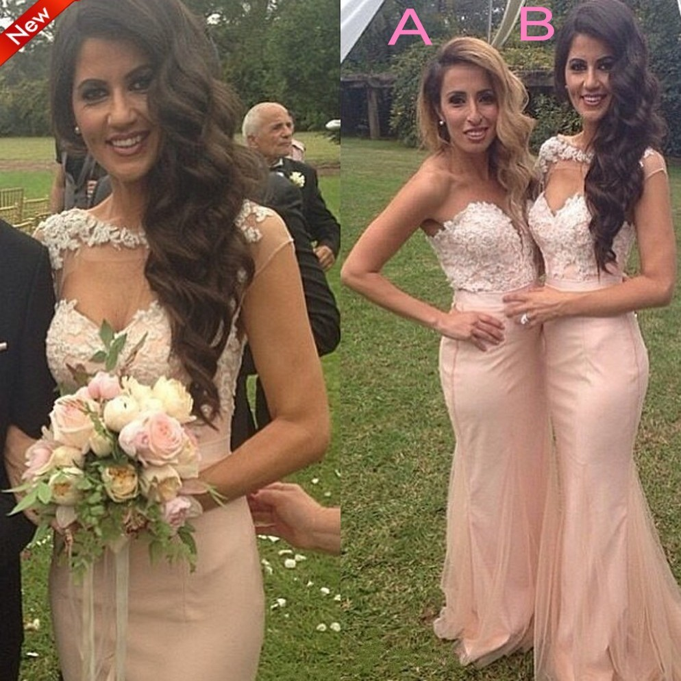 Lace Mermaid Bridesmaid Gown Navy Blue Peach Ivory Champagne Silver Yellow Hunter Lavender Dresses Fast Shipping In From