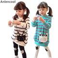 Anlencool 2017 Nueva Primavera Niños Ropa Trajes Niñas Sistemas de la Ropa de Algodón Traje Casual Chica Kids Fashion Wear Camisa de Franja + pantalones