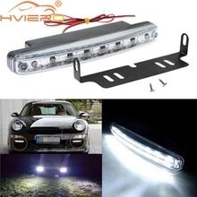 цена на New 1pcs Car Daytime Running Light 8 LED 8smd DRL Daylight Kit Super White Head Lamp Parking Car Fog Lights 12V DC free shipping
