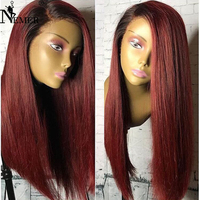 NEMER Virgin Human Hair Wigs with Baby Hair 150 Density T1B/99J Ombre Glueless 13x6 Lace Front Virgin Hair Wigs