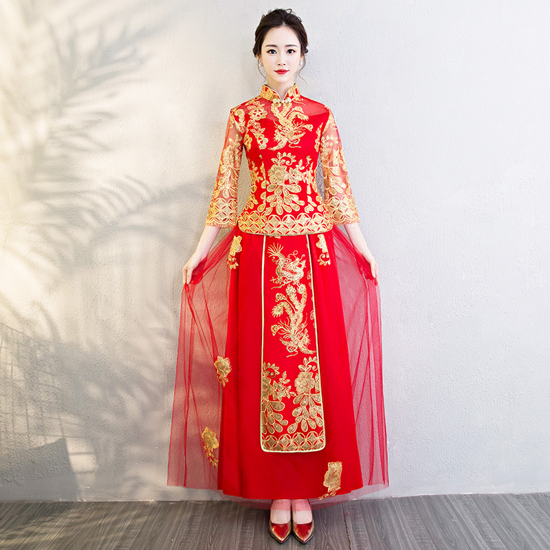 Red Bride Girls Embroidery Chinese Traditional Phoenix Wedding Cheongsam Oriental Evening Dress Vestido China Qipao Long Sleeve