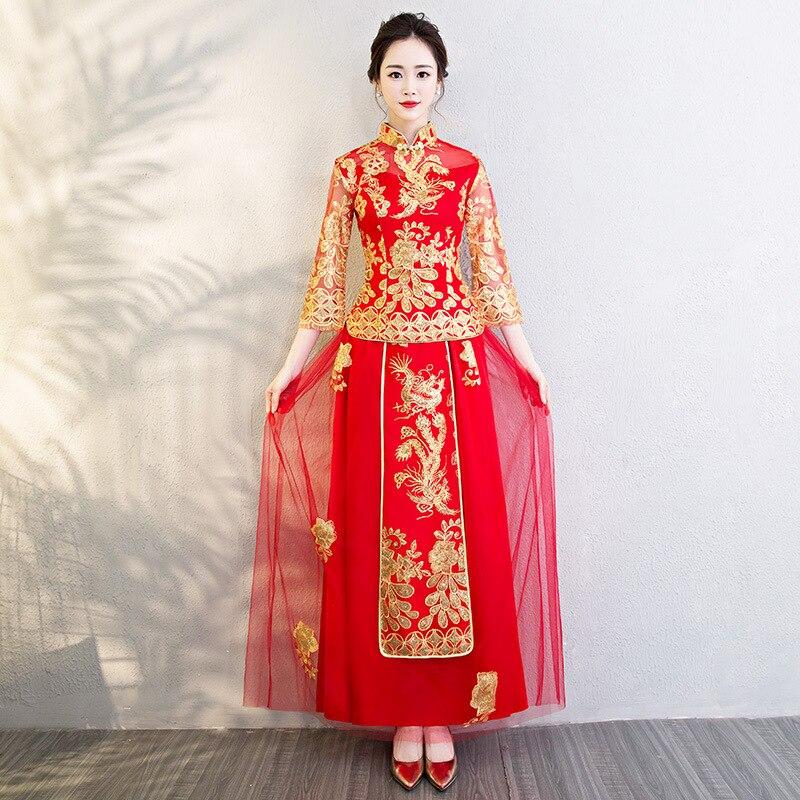 Rouge mariée filles broderie chinois traditionnel Phoenix mariage Cheongsam Oriental robe de soirée Vestido chine Qipao à manches longues