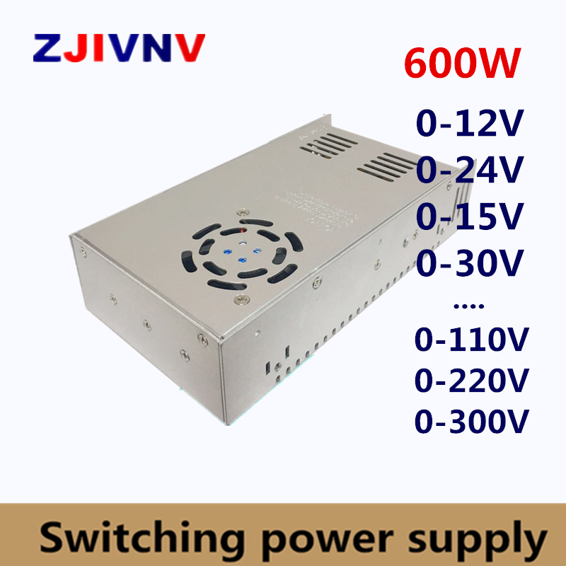 600W Switching Power Supply adjustable output voltage AC-DC 0-12V 15V 24V 36V 48V 50V 60V 72V 80V 110V 130V 220V,SMPS 12V 50A вольтметр 50v 50a lifepo4 lipo tf01n