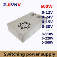 600W Switching Power Supply adjustable output voltage AC-DC 0-12V 15V 24V 36V 48V 50V 60V 72V 80V 110V 130V 220V 300V, 12V 50A