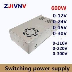 600W zasilacz regulowane wyjście napięcie AC DC 0 12V 15V 24V 36V 48V 50V 60V 72V 80V 110V 130V 220V 300 V  12V 50A|Zasilacze impulsowe|Majsterkowanie -