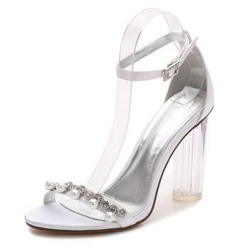 Fashion clear block high heel lady satin dress sandals pearls crystal ankle strap woman summer high heels wedding bridal shoes