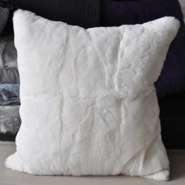 40 New Real Rex Rabbit Fur Pillow Cover Decorative Cushion Covers New Rabbit Fur Pillow Cover
