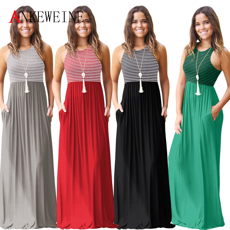 Striped Sexy Casual Summer Sleeveless Tank Dress Long Boho Beach Pockets Women Sundress Vestidos Elegant Daily Dess Female