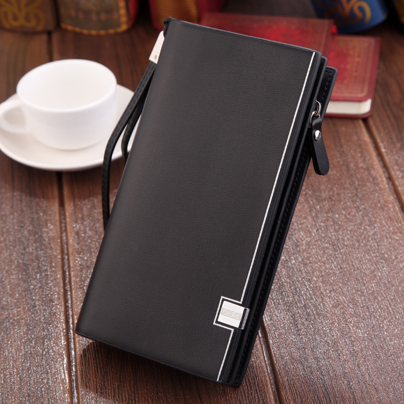Original luxury Brand men's wallet business striped clutch leather purse for male fashion man card holder with zipper phone bag