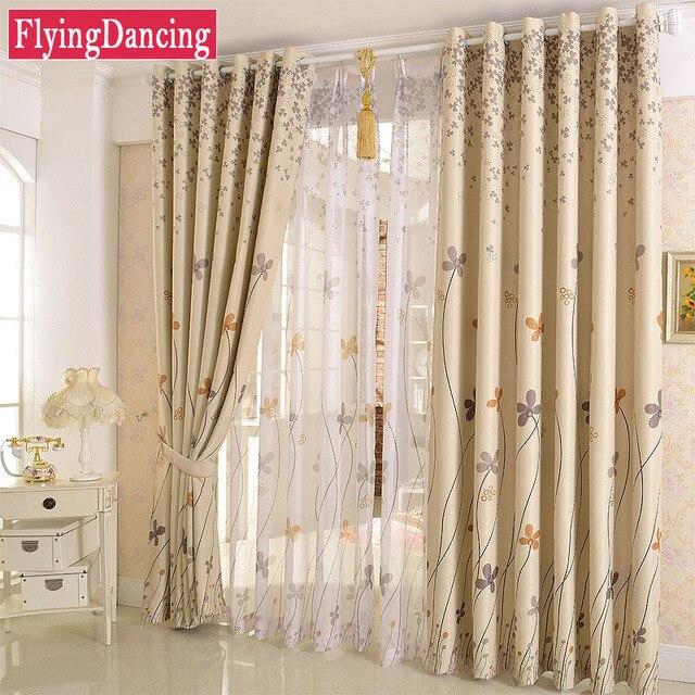 Pastoral Floral Pattern Design Blackout Curtains For Living Room Dandelion Printing Sheer Curtain Bedroom