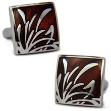 SPARTA Stainless steel + Mahogany Cuffliks Narcissus pattern men's Cuff Links + Free Shipping !!! metal buttons